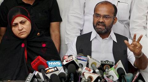 Rajya Sabha MP Sabir Ali alongwith his wife address a press conference in New Delhi on Sunday. (PTI)