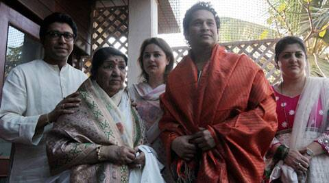 It was a meeting of stalwarts, as Maharashtra Navnirman Sena (MNS) chief Raj Thackeray hosted Lata Mangeshkar and cricket great Sachin Tendulkar at his residence on Sunday (March 9). (IE Photo)