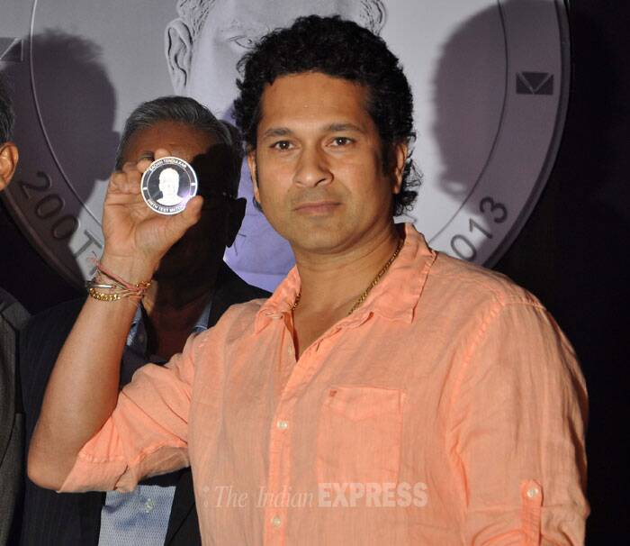 A new lot of silver coins bearing retired cricket great Sachin Tendulkar's face embossed on them along with the number of Tests (200) he had played was launched by Valuemart Gold & Jewels, in association with Diamond India, in Mumbai. (Photo: Varinder Chawla)