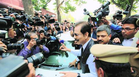 Sahara India chief Subrata Roy arrives at the Supreme Court on Wednesday. Ravi Kanojia