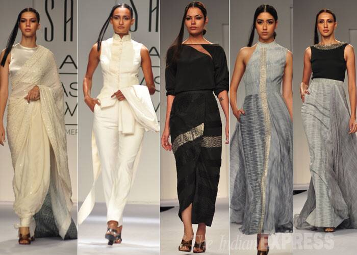 In simple tones of white black and grey, Sailex showcased feminine creations with a hint of sensuality. (Photo: Varinder Chawla)