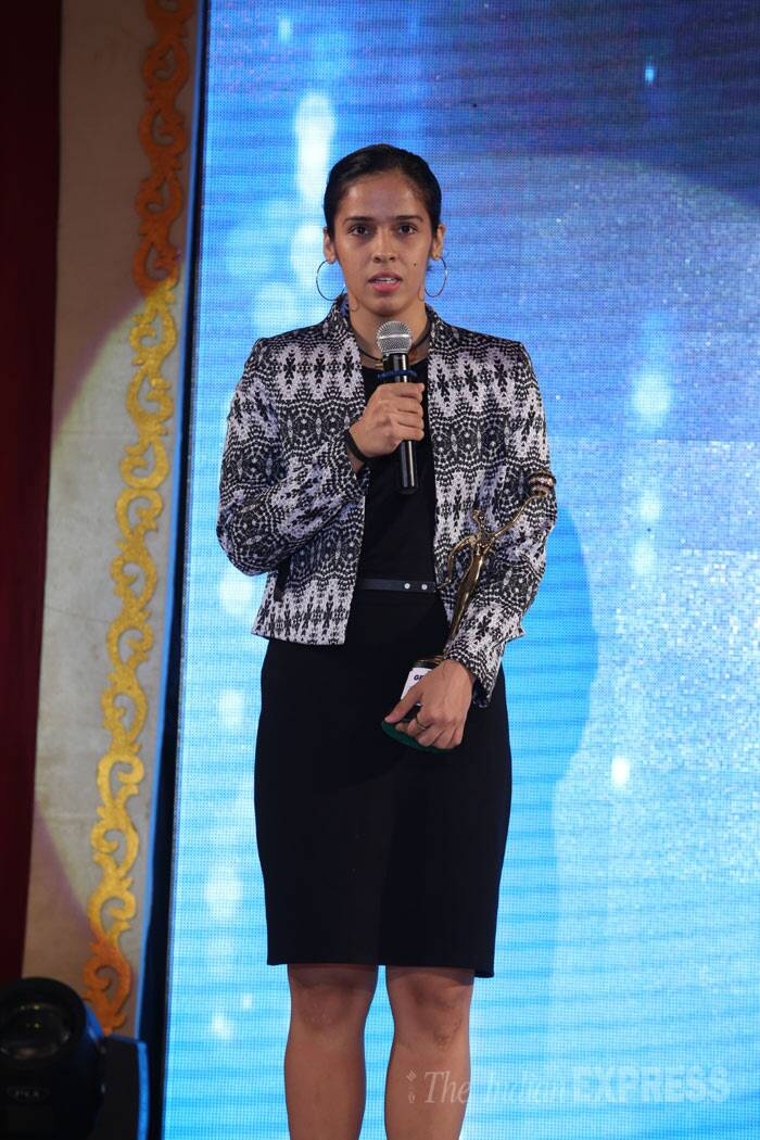 India's Badminton ace player Saina Nehwal was also seen at the award show. <br /><br /> This year 11 women achievers were felicitated in a glittering ceremony. Saina got awarded for her contribution the field of sports. (Photo: Varinder Chawla)