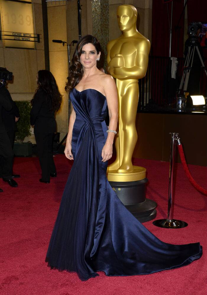 Best Actress nominee Sandra Bullock was gorgeous in a blue Alexander Mcqueen gown that was pleated half way across her bosom and all the way down to the hem of her skirt. (AP)