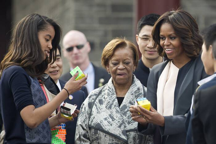 Accompanied by her mother Marian Robinson and daughters Malia and Sasha, Obama has toured the former Imperial Palace, the Great Wall in Beijing, and the Terra Cotta Museum in the ancient city of Xi'an. (Reuters)