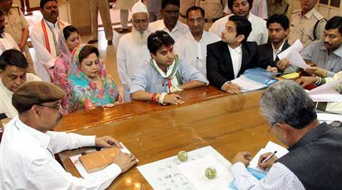 Union Minister and Congress candidate from Guna Loksabha constituency, Jyotiraditya Scindia files his nomination papers in Shivpuri, Madhya Pradesh on Monday. (PTI Photo)