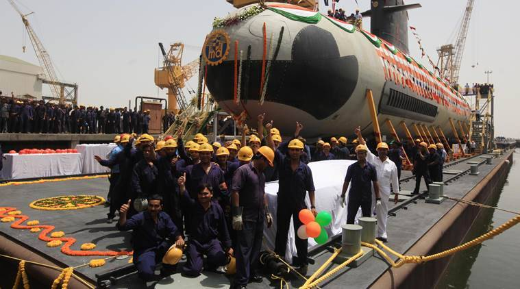 Indian Navy's first Scorpene submarine of project 75 is seen after being undocked from Mazagon Docks Ltd, a naval vessel ship building yard, in Mumbai. Express Photo by Ganesh Shirsekar. 06.04.2015. Mumbai.