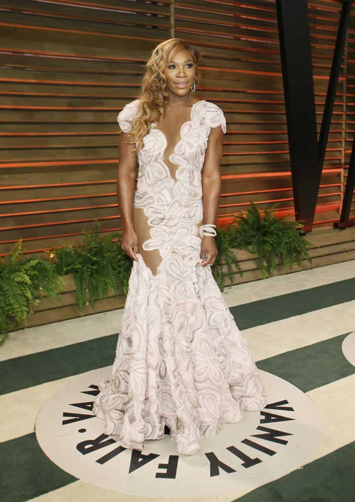 Tennis star Serena Williams failed to impress in white sheer dress with floral design. (Reuters)