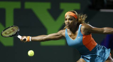 Serena Williams hits a forehand against Angelique Kerber (not pictured) on day nine of the Sony Open. (USA Today Sports)