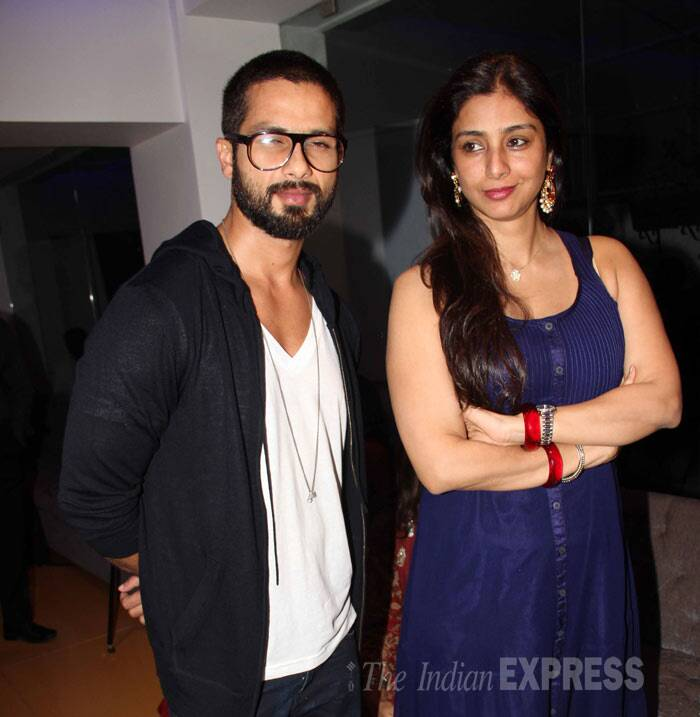 Shahid Kapoor was joined by his 'Haider' co-star Tabu for the movie date. (Photo: Varinder Chawla)
