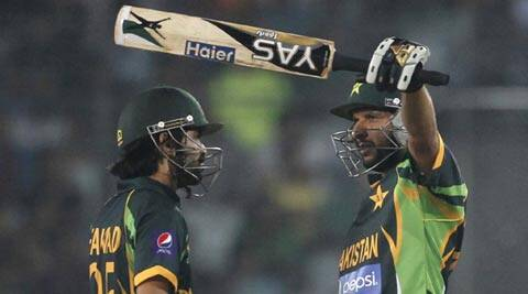 Although he missed the record for the fastest ODI half-century ever by just a ball, Shahid Afridi brought up his fifty in just 18 balls — the third time he has done so in his one-day career. It propelled the defending champions into the Asia Cup final (Reuters)