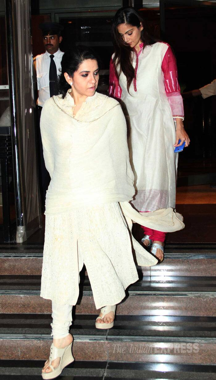 Designer Shaina NC makes an exit after the prayers. (Photo: Varinder Chawla)