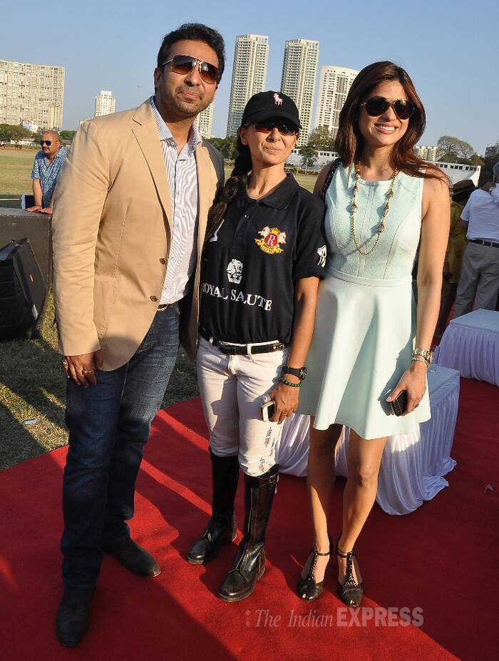 Shilpa Shetty's husband Raj Kundra was spotted at a polo match, where designer Rina Shah's team Rinaldi were playing. Also seen was Shilpa's sister Shamita. (Photo: Varinder Chawla)