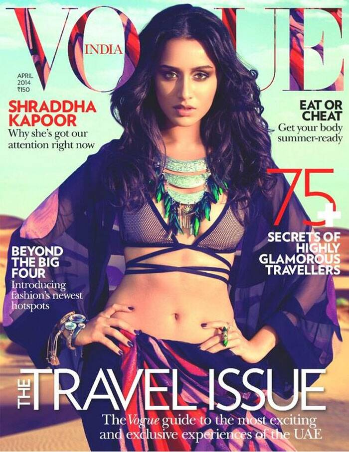 Pretty girl Shraddha sizzles in a stringy bikini top as she graces the cover of a fashion magazine looking super-sexy. Showing off her toned mid-riff, the 'Aashiqui 2' actress looks smoldering as she gives the camera a piercing stare, decked up with an interesting statement necklace and dark nail paint.