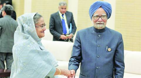 PM with Sheikh Hasina on Tuesday. PTI