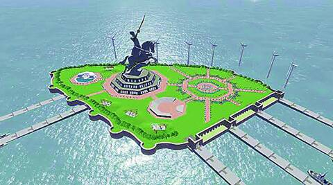 Concept plan of the Shivaji Memorial in the Arabian Sea