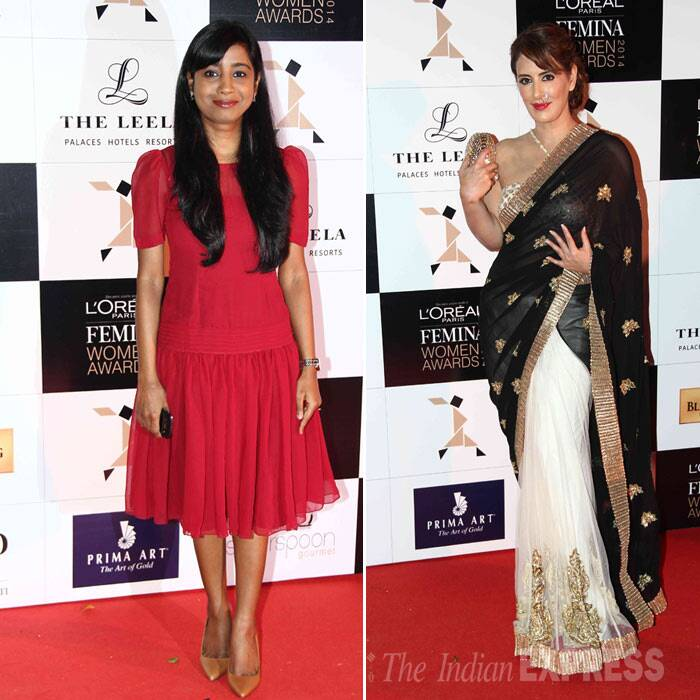 Singer Shilpa Rao was cute in a red dress while designer Pria Kataria Puri went ethnic, we like her 'nathni'. (Photo: Varinder Chawla)