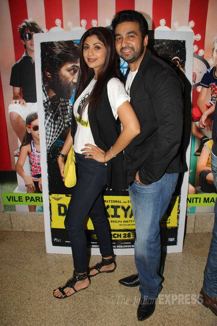 "Dishkiyaoon's producer Shilpa Shetty with her husband Raj Kundra. Talking about her maiden production venture 'Dishkiyaoon', Shilpa said: ""We don't have mindless action. We have great characters in the film, it has great dialogues. I took this risk. I liked the gangster story, the dialogues.. so produced it. The characters are real."" (Photo: Varinder Chawla)"