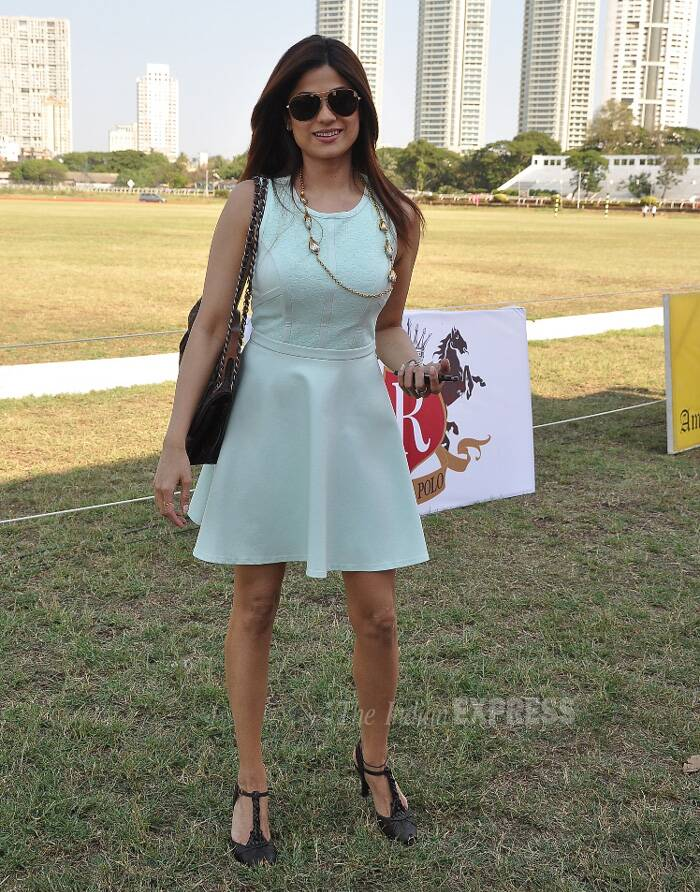 Shamita Shetty was chic in a mint coloured skater dress with black heels. (Photo: Varinder Chawla)