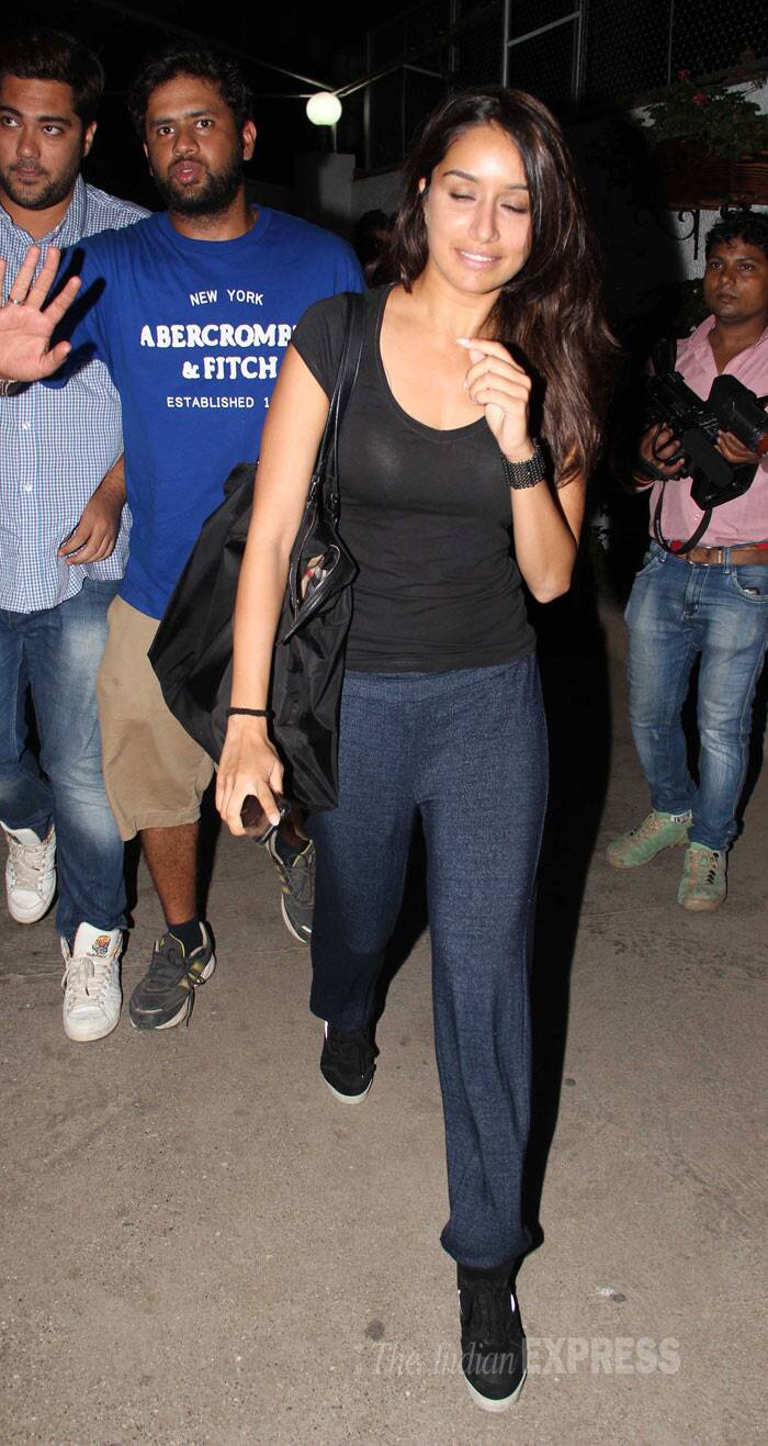 The actress, who has been busy with upcoming film 'The Villain' opposite Sidharth Malhotra, went deglam in a black tee shirt and track pants. (Photo: Varinder Chawla)