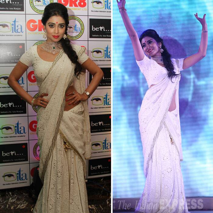 Telugu actress Shriya Saran turns Chandni as she wore an all white for the evening. (Photo: Varinder Chawla)