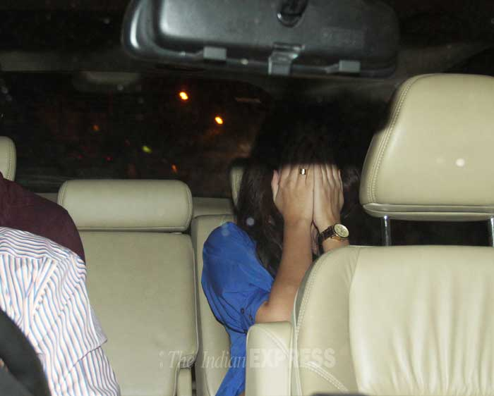Why? Sidharth's mystery date made sure to hide her face from the cameras. (Photo: Varinder Chawla)