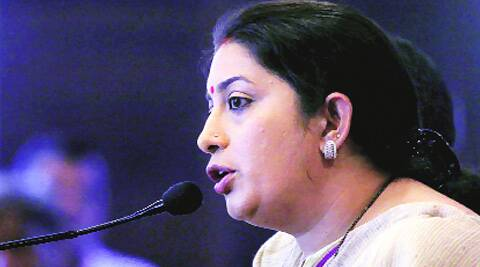 Smriti Irani in Ahmedabad on Sunday. (Javed Raja)