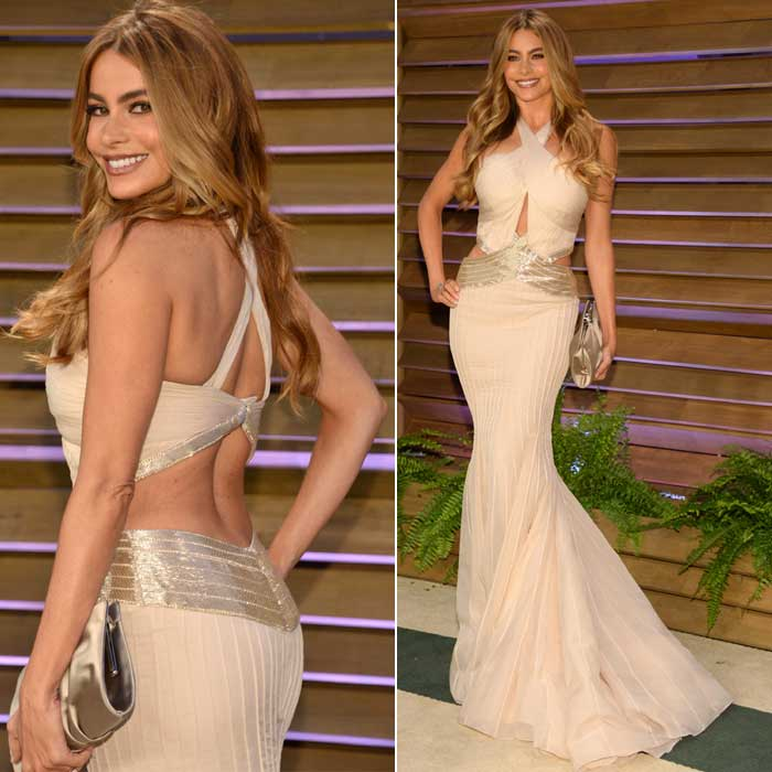 Sofia Vergara cut a svelte figure at the Vanity Fair Oscar Party. (AP)