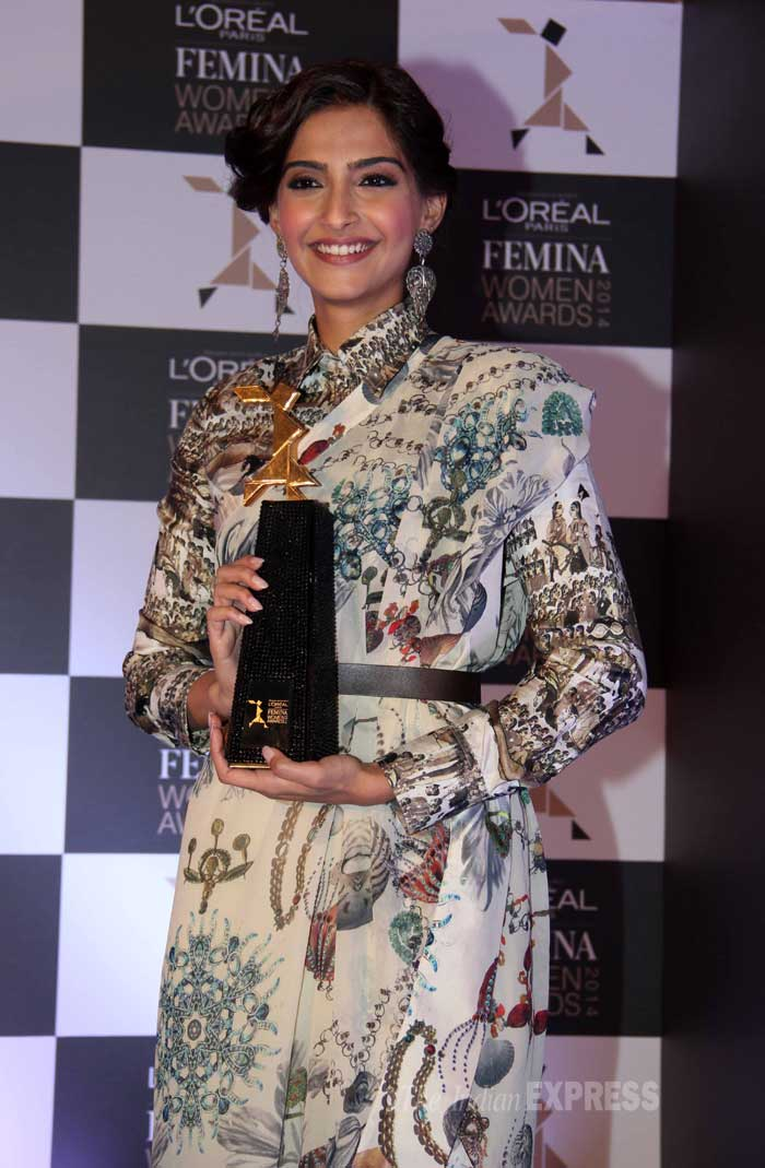 Meanwhile, Sonam Kapoor was all smiles as she posed for a picture along with a trophy at the event, which was organized to announce the nominees for a special women's award ceremony. (Photo: Varinder Chawla)