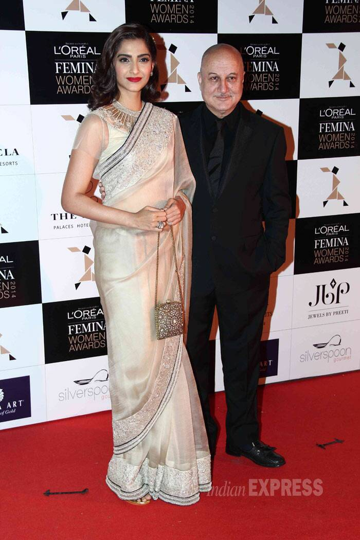 Sonam Kapoor poses with veteran actor Anupam Kher. (Photo: Varinder Chawla)