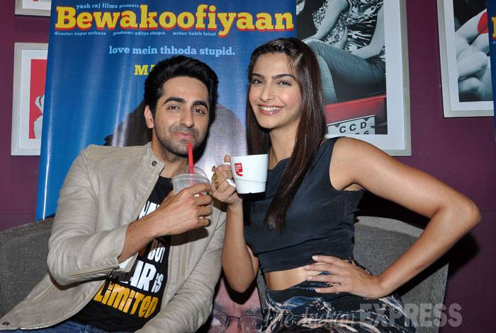 Sonam Kapoor and Auyushmann Khurrana, who were busy with their last minute promotions for 'Bewakoofiyaan', enjoyed a coffee date with fans and media on Thursday (March 13) a day before the film's release. (Photo: Varinder Chawla)