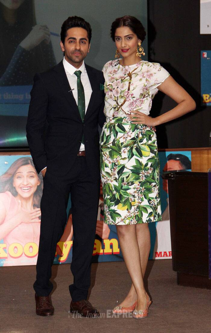 Lead actors of soon-to-be released 'Bewakoofiyaan', Sonam Kapoor and Ayushmann Khurrana have kick started promotions for the rom-com. The duo paid a visit to a management college in the city for a press meet. (Photo: Varinder Chawla)