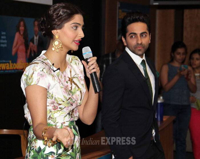 Sonam Kapoor dolls up, Ayushmann gets suited