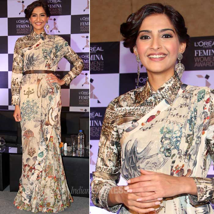 The actress showed off her slim figure in a printed Anamika Khanna creation. (Photo: Varinder Chawla)