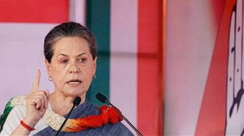 UPA Chairperson Sonia Gandhi addresses during an election campaign rally in New Delhi on Sunday. (PTI)