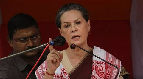 Sonia Gandhi speaks during an election rally in Lakhimpur, Assam on Sunday. (PTI)