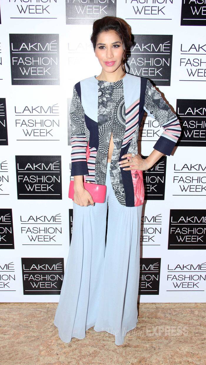 Item girl and actor Sophie Choudry wore a printed jacket with palazzos also by Manish. (Photo: Varinder Chawla)