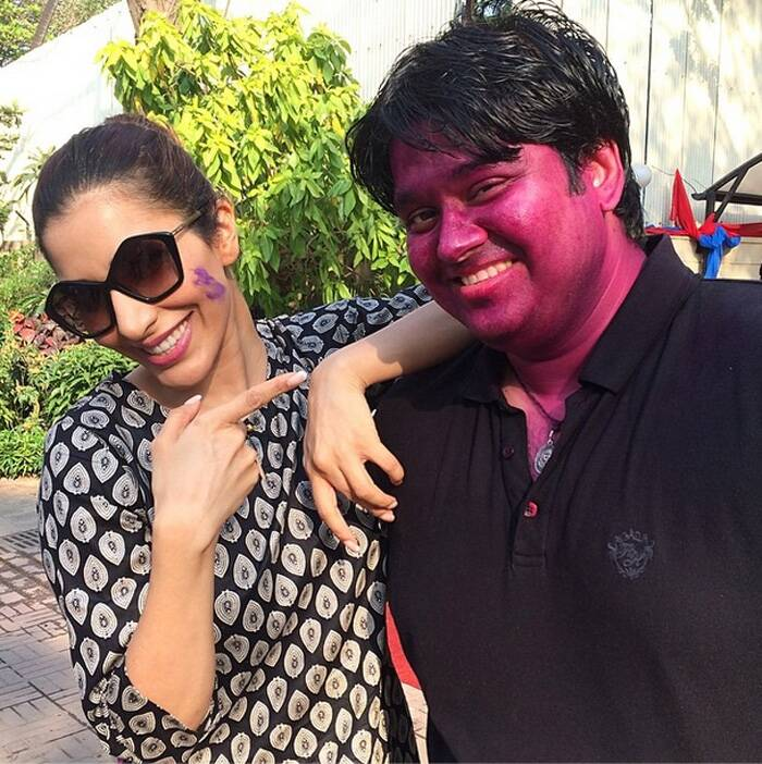 Sophie Choudry is happy to strike a pose with her Holi buddy.