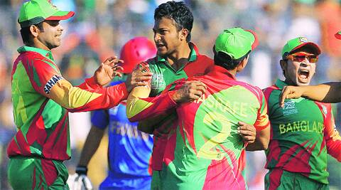 Bangladesh players celebrate after Shakib Al Hasan dismissed Afghanistan's Najeeb Tarakai during World T20 qualifier match in Dhaka. REUTERS
