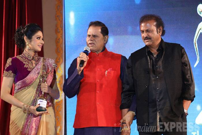 Sridevi with Mohan Babu and Dr. T. Subbarami Reddy (MP). Sridevi was awarded the Excellence In Versatility award for her contribution to the Indian cinema. (Photo: Varinder Chawla)