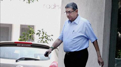 BCCI president N. Srinivasan in Chennai on Tuesday. (PTI)