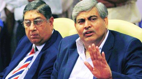 Shashank Manohar (R) who was BCCI president from 2008 to 2011 said the goal of BCCI should not be money but a clean game of cricket (File)