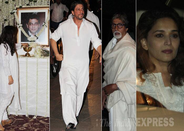 Bollywood biggies like Amitabh Bachchan, Jaya Bachchan, Shah Rukh Khan, Madhuri Dixit, late actor Shammi Kapoor's wife and others attended the prayer meet of Juhi Chawla's brother Bobby Chawla in Mumbai on Tuesday (March 11). <br /><br /> Juhi's elder brother Bobby, who had been in coma nearly for four years, passed away on March 9.  (Photo: Varinder Chawla)