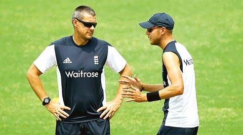 England captain Stuart Broad and team coach Ashley Giles during training in Chittagong (AP)