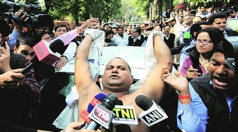 Manoj Sharma outside the Supreme Court on Tuesday. (Ravi Kanojia)