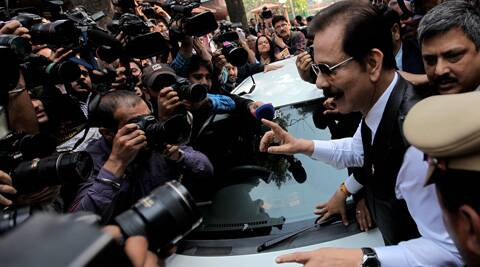 Sahara India chief Subrata Roy arrives at the Supreme Court on Wednesday. (IE Photo: Ravi Kanojia)