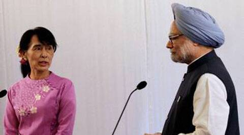 Singh with Myanmar's Opposition leader Aung San Suu Kyi. (PTI)