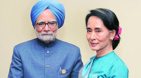 Manmohan Singh with Myanmar opposition leader Aung San Suu Kyi in Nay Pyi Taw on Tuesday. PTI