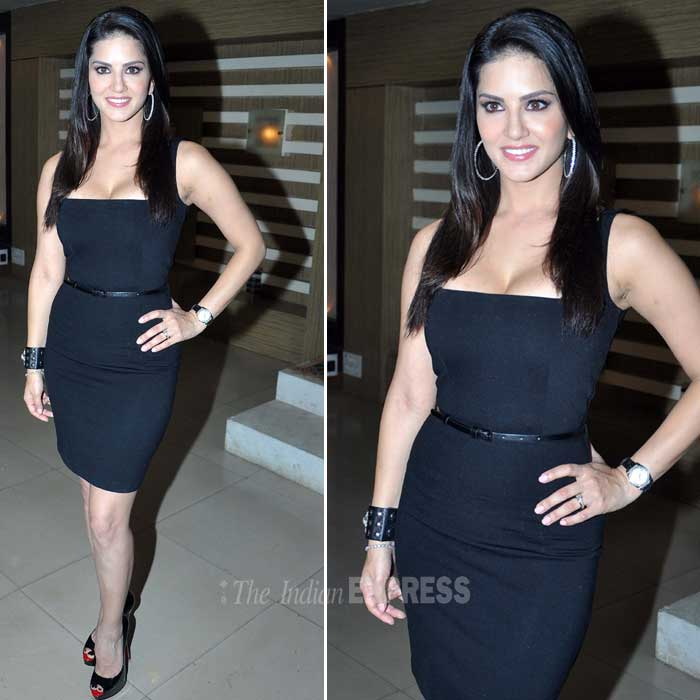 Sunny Leone was lovely in a strapless black dress worn with her favourite black bracelet and matching peep toes. <br /> 'Ragini MMS 2′ is a sequel to the 2011 hit film 'Ragini MMS' and also stars Sandhya Mridul, Divya Dutta and Anita Hassanandani in pivotal roles. (Photo: Varinder Chawla)