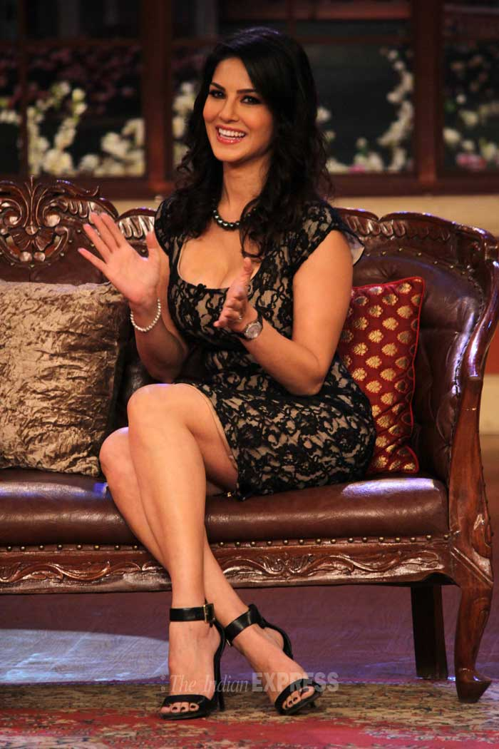 Sunny Leone is all smiles as she's snapped sitting pretty. (Photo: Varinder Chawla)