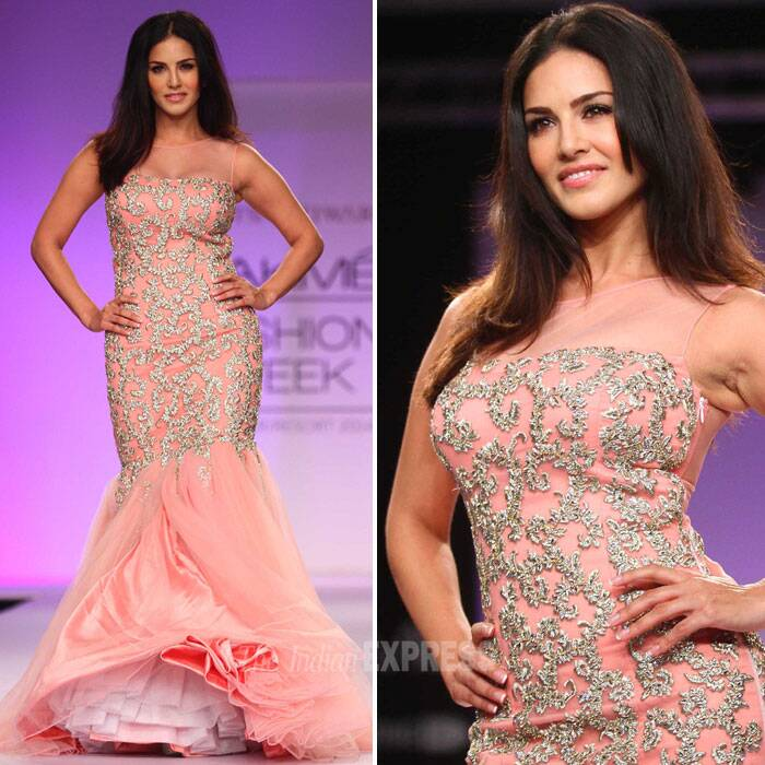 Stunningly Sunny Leone! Archana-Jyotsana picked a pink dress shimmering bodice with dramatic end ruffles for their show stopper. (IE Photo: Amit Chakravarty)